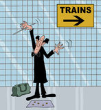 Cartoon of a conductor in metro Stock Images