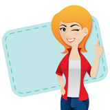 Cartoon confident girl wink Royalty Free Stock Photo