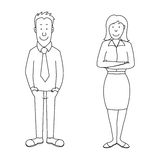 Cartoon confident man and woman employees Stock Photography