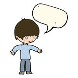 Cartoon confused boy with speech bubble Royalty Free Stock Photo