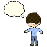 Cartoon confused boy with thought bubble Royalty Free Stock Images