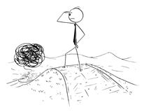 Cartoon of Confused Businessman on the Road Business Road of Confusion. Cartoon stick man drawing conceptual illustration of confused businessman watching the Royalty Free Stock Image