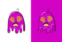 Cartoon Confused Emoji in Ghost Style. Royalty Free Stock Photos