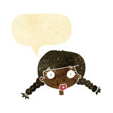 Cartoon confused female face with speech bubble Royalty Free Stock Photography