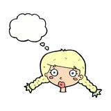 Cartoon confused female face with thought bubble Royalty Free Stock Image