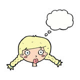 Cartoon confused female face with thought bubble Royalty Free Stock Photo