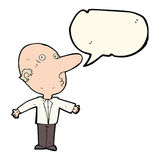 Cartoon confused middle aged man with speech bubble Stock Image