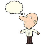 Cartoon confused middle aged man with thought bubble Stock Photo
