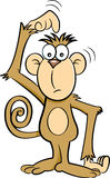 Cartoon confused monkey. Royalty Free Stock Photography
