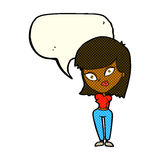 Cartoon confused woman with speech bubble Royalty Free Stock Photos