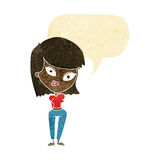 Cartoon confused woman with speech bubble Royalty Free Stock Photography