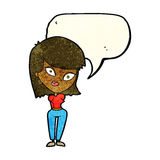 Cartoon confused woman with speech bubble Stock Photography