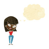 Cartoon confused woman with thought bubble Royalty Free Stock Image