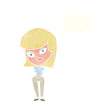 Cartoon confused woman with thought bubble Royalty Free Stock Photography