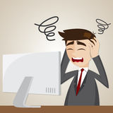 Cartoon confusion businessman with computer Royalty Free Stock Image