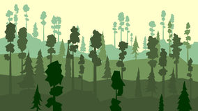 Cartoon of coniferous forest in green tone. Royalty Free Stock Images