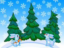 The cartoon coniferous forest with two rabbits. Royalty Free Stock Image