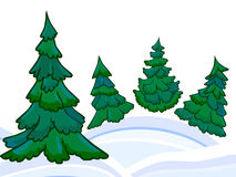 The cartoon coniferous forest and winter snowdrifts Royalty Free Stock Images