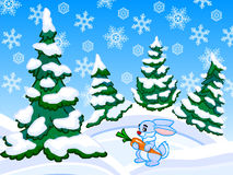 The cartoon coniferous snowy forest with a rabbit. Royalty Free Stock Photos