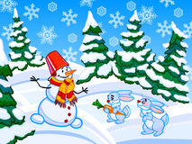The cartoon coniferous snowy forest with a snowman and two rabbi Royalty Free Stock Photo