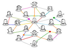 Cartoon connected people on big social network Stock Images