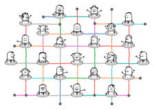 Cartoon connected people on big social network Stock Image