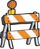 Cartoon Construction Barricade. Isolated reflective flasher construction barricade over white Stock Photo