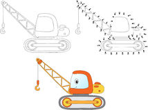 Cartoon construction crane. Vector illustration. Coloring and do Royalty Free Stock Photo