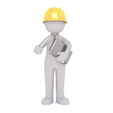Cartoon Construction Foreman Holding Binder Stock Image