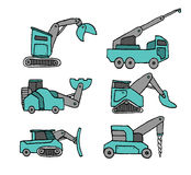 Cartoon construction vehicle set Stock Photos