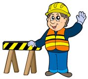 Cartoon construction worker. Illustration Stock Photo