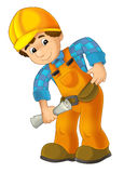 Cartoon construction worker in bending with some kind of project in his hand Stock Photos
