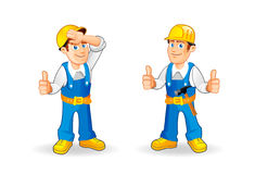 Cartoon construction worker characters set. Funny cartoon builder character. Hand drawn vector illustration Stock Image