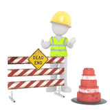 Cartoon Construction Worker at Dead End Road Block. Generic Gray 3d Cartoon Figure Wearing Yellow Hard Hat and Reflective Safety Vest Standing at Dead End Road Royalty Free Stock Images