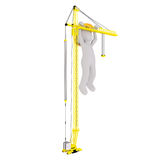 Cartoon Construction Worker Hanging from Crane. Generic Gray 3d Cartoon Figure Wearing Yellow Hard Hat Hanging off of Girder of Yellow Construction Crane in Royalty Free Stock Photos