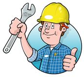 Cartoon construction worker logo. Cartoon construction worker holding a wrench Royalty Free Stock Photo
