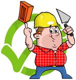 Cartoon construction worker logo. Cartoon construction worker holding a trowel and brick in front of a green tick Royalty Free Stock Image