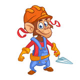 Cartoon construction worker monkey with a trowel. Vector illustration. Cartoon construction worker monkey with a trowel. Vector illustration Stock Photo