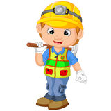 Cartoon Construction worker repairman. With pickaxe Royalty Free Stock Photos