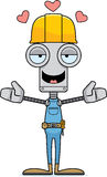 Cartoon Construction Worker Robot Hug Royalty Free Stock Photography