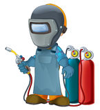 Cartoon construction worker in some additional safety cover welder in mask with a tool Stock Photos