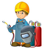 Cartoon construction worker in some additional safety cover welder in mask with a tool Stock Image