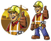 Cartoon of construction worker with thumb up hand Stock Photos
