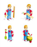 Cartoon Construction Workers. With Different Tools And Objects Stock Image