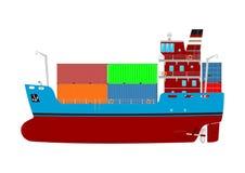 Cartoon container ship. Royalty Free Stock Photo