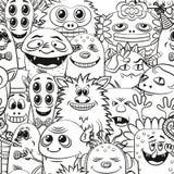 Cartoon Contour Monsters Seamless stock illustration