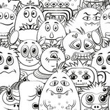 Cartoon Contour Monsters Seamless. Seamless Background for your Design with Different Cartoon Contour Monsters, Black and White Tile Pattern with Cute Funny Stock Photos