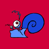 Cartoon contour snail crawling. Vector illustration Royalty Free Stock Photo