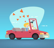Cartoon Convertible Car Happy Male and Female Stock Images