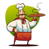 Cartoon cook character. Happy cartoon cook with big pizza in the hand Royalty Free Stock Photos